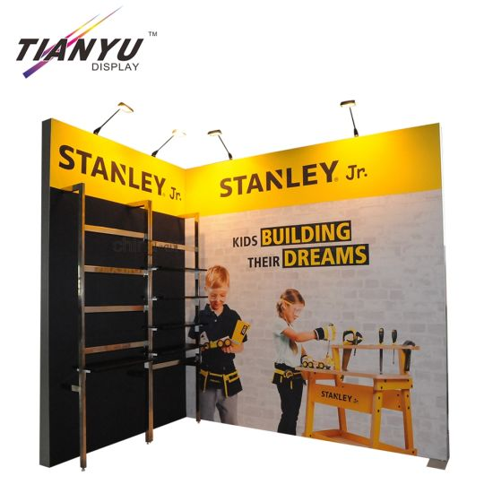 10X10FT L Forma Feria Exposición Display Stand Stands con el estante